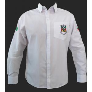 Camisa Masc Ml Lisa Branco C/bordado Brasão
