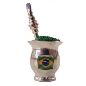 Enfeite Mini Cuia Brasil Niquel