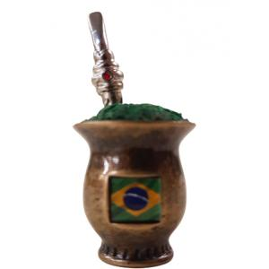 Enfeite Mini Cuia Brasil Ouro Velho