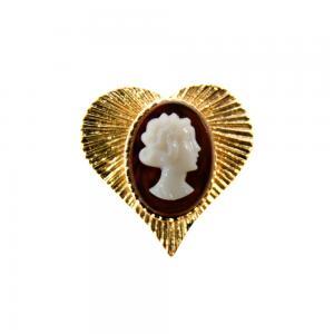 Camafeu Coracao Ouro Cobre Marfim