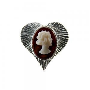 Camafeu Coracao Prata Cobre Marfim